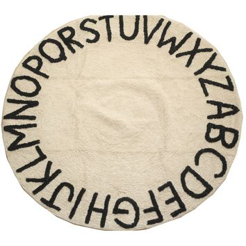 Beige ABC Alphabet Washable Rugs - Round Nursery Rug - 100% Cotton