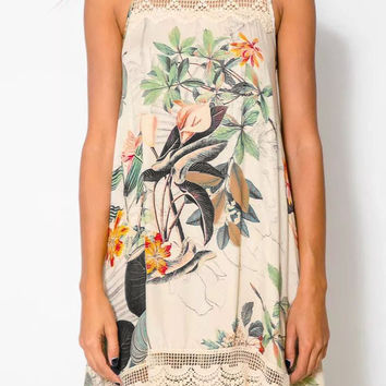Floral Sleeveless Lace Embroidered Mini Dress