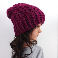 NEW! Crochet Slouchy Hat /BOYSENBERRY/, Crochet Slouchy Beanie, Fall/Winter Hat, Fashion Accessory 2014