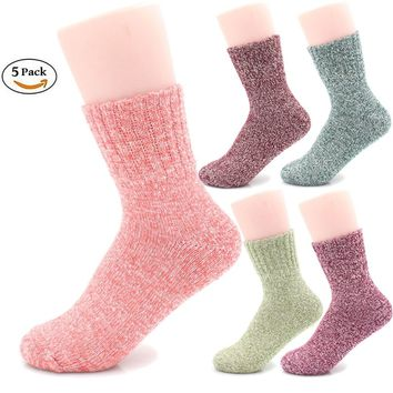 Packs of 5 Crew Socks Women Wool Fuzzy Winter Colored Knit Sox Striped