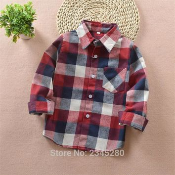 Shirt For Boys Girls Baby Shirts Plaid Shirt Boy Child Blouse Cotton Tops Brand Polo L