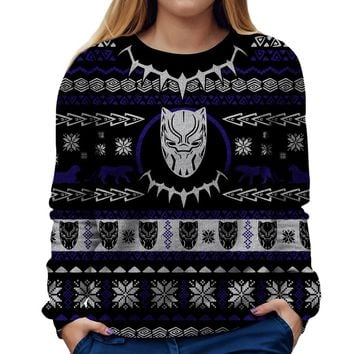Black Panther Christmas Womens Sweatshirt
