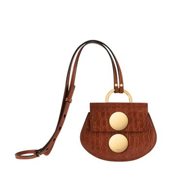 Chloé Mini Embossed Shoulder Bag - Gold Button Bag - ShopBAZAAR