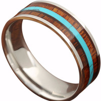 8mm Handcrafted Koa Wood Ring with a Beautiful Turquoise Inlay