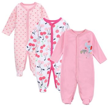 3 PCS/LOT Baby Rompers Soft Cotton Baby Clothes Cartoon Printed Thick Climbing Newborn Winter Clothes for Girl Clothes 0-12M