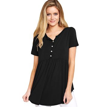 Z| Chicloth Black Button Front Babydoll Flowy Tee Top with Pleats