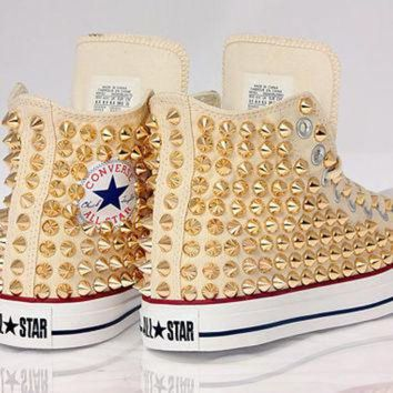 DCCKHD9 Holiday Promotion, Studded White Converse GOLD Studs with converse Cream high top by C