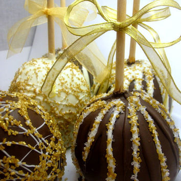 Candy Apples with Gold Sugar Glitter- White, Gold and Chocolate Swirls and Shimmers - 1