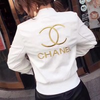 CHANEL Embroidery Leather Long Sleeve Cardigan Jacket Coat White