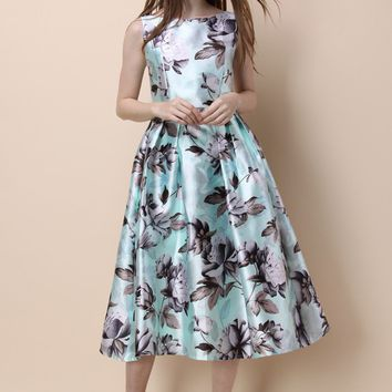 Garden of Peony Printed Prom Dress