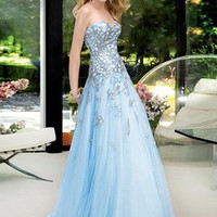 A-Line/Princess Sweetheart Floor-Length Satin Tulle Prom Dress With Appliques Lace Sequins