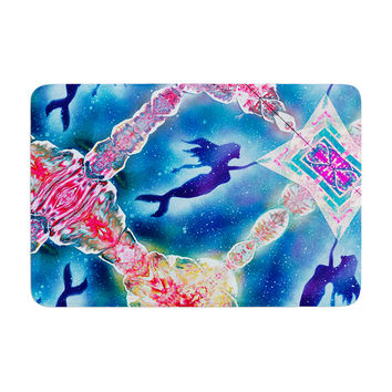 "Infinite Spray Art ""Mermaid Pattern"" Blue Pink Memory Foam Bath Mat"