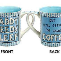 Blue  16oz Coffee Mug Father's Day Gift New Dad Tea Drink Cup Earthenware
