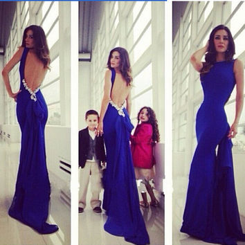 Blue Butterfly Mermaid Wedding Dress Slim Prom Dress [6338831617]