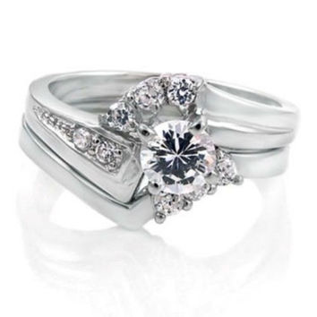 Sterling Silver Wedding Ring Set with Halo CZ Bridal Engagement Ring and Band size 5-9