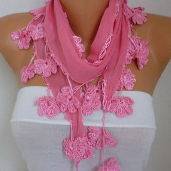 Pink - Red - Black Cotton Scarf, Spring Summer Scarf, Cowl Scarf, Necklace, Gift Ideas For Her, Women' Fashion Accessories
