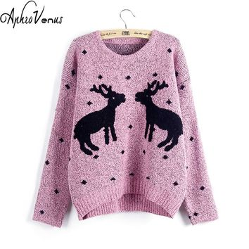 Women Christmas Sweaters Pullover Long Sleeved Knitted Deer Casual Knitted Jumpers Pull Femme Girls Winter Warm Sweater Tops