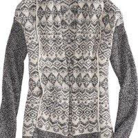 AEO Women's Fair Isle Blanket Sweater (Grey)