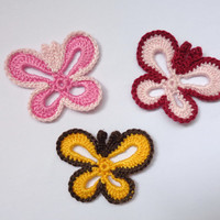 Crochet Applique Butterfly 3pcs - From Cotton Yarn- Supplies For Clothing, Hair Clips, Handbags