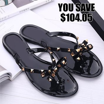 GIGI Gold Studded Womens Jelly Sandal