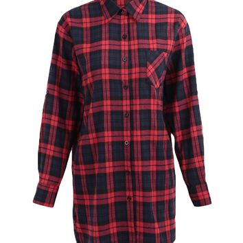 New Women Oversized Plaid Tartan Shirt Buttons Pocket Turn-down Collar Long Sleeve Baggy Check Blouse Tee Shirt