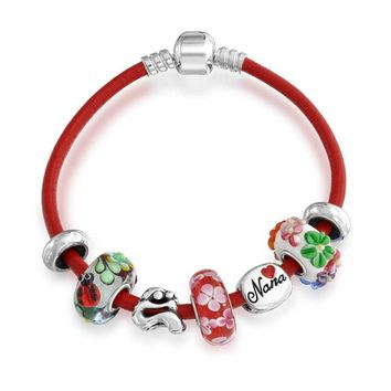 Nana Grandmother Spring Charm Red Leather Bracelet Sterling Silver