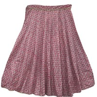 Women's Fashionable Skirt Pink Floral Printed Boho Maxi Skirt