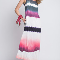 Watercolor Striped Pocketed Maxi Dress