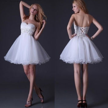 Grace Karin Fashion Sweetheart Off The Shoulder Cocktail Dresses Women Short White Knee-Length Prom Dresses = 5739027393