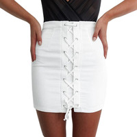 Fashion Summer Denim Skirt Women High Waist Slim Package Hip Party Club Bandage Skirt Casual Mini White Skirts Plus Size