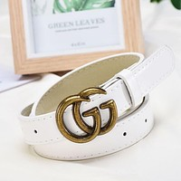 GUCCI Popular Woman Men Smooth Buckle Leather Belt+Best Gift White I12241-1