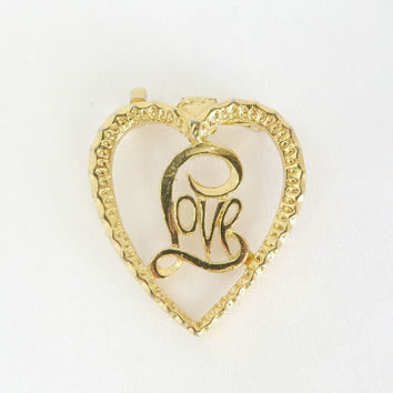 Vintage Gerry's Love Heart Brooch Pin, Gold Tone Heart Pin, Designer Heart Pin, 1960s Brooch