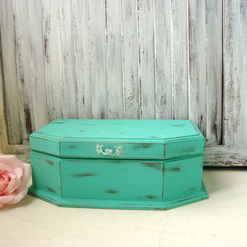 Aqua Vintage Jewelry Box, Shabby Chic Teal Jewelry Holder, Beach Cottage Distressed Wooden Jewelry Chest, Cottage Chic, Gift Ideas