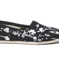 Striped Splatter Women's Black Canvas Classics