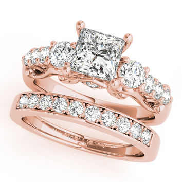 Engagement Ring -Scroll Three Stone Princess Diamond Bridal Set in Rose Gold-ES1578RGBS