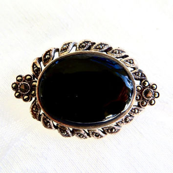 Art Deco Brooch, Sterling Silver Marcasite & Onyx Brooch, Vintage Onyx Pin