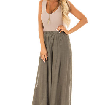 Olive Wide Leg Comfy Pants with High Side Slits