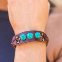 Braided & Stones Leather Bracelet