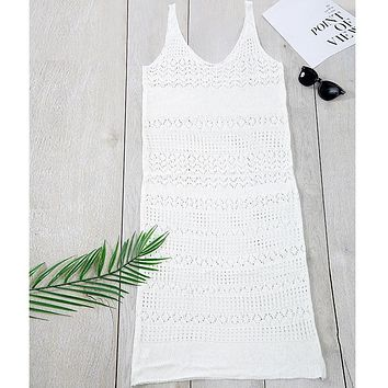 Crochet white swimsuit cover-ups Long sexy cover up hollow out summer beachwear women