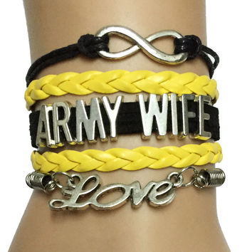 Drop Shipping Infinity Love Army Wife Bracelet- New Version -Custom Dept. Team Gift Jewelry