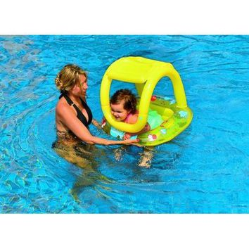 Inflatable Baby Swimming Pool Float with Sunshade  Yellow Sea Creature
