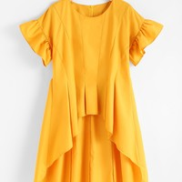 Yellow Round Neck Frill Sleeve Dip Hem High Low Zip Back Top