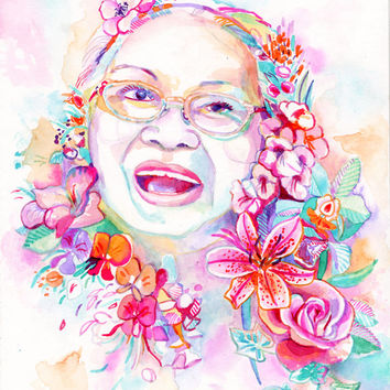 In MEMORY of MOTHER portrait - mom grandmother custom watercolor painting