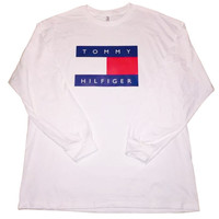 Vintage 90s Tommy Hilfiger Long Sleeve T Shirt(White)