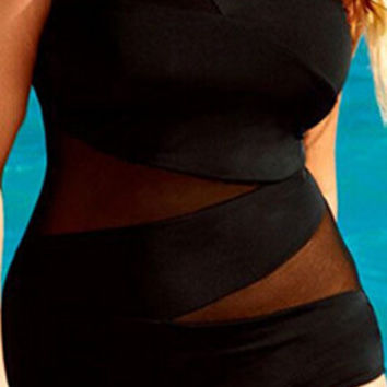 Plus Size One Shoulder Mesh Patchwork One Piece Swimwear