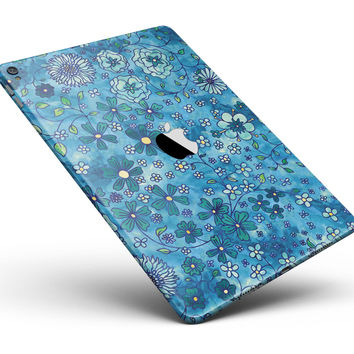 "Floral Pattern on Blue Watercolor Full Body Skin for the iPad Pro (12.9"" or 9.7"" available)"