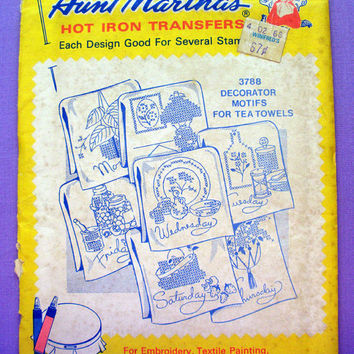 "Aunt Martha's ""Decorator Motifs for Tea Towels"" Hot Iron Transfer Pattern 3788 for Embroidery, Fabric Painting, Needle Crafts"