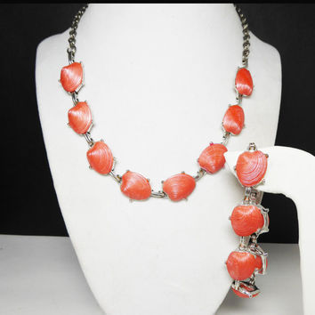 Spring Sale Coral Orange Necklace & Bracelet set - Demi Parure - Shell Shaped Cabs on Silvertone Setting - Vintage 1950's - 1960's Mid Ce...