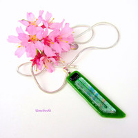 Dichroic Glass Jewelry Pendant Handmade with Green and Pastel Shades of Spring, Fused Glass Pendant by Umeboshi Jewelry Design