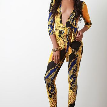 Chain Link Print Plunge Neck Self-Tie Jumpsuit